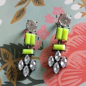 Neon yellow earrings crystal